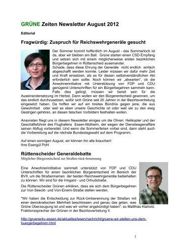 GRÜNE Zeiten Newsletter August 2012 - Die Grünen Essen