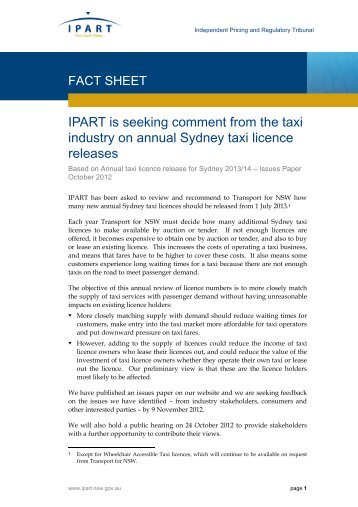 IPART is seeking comment from the taxi industry on annual Sydney ...