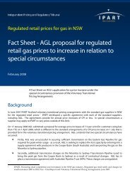 Fact Sheet - AGL proposal for regulated retail gas prices to ... - IPART