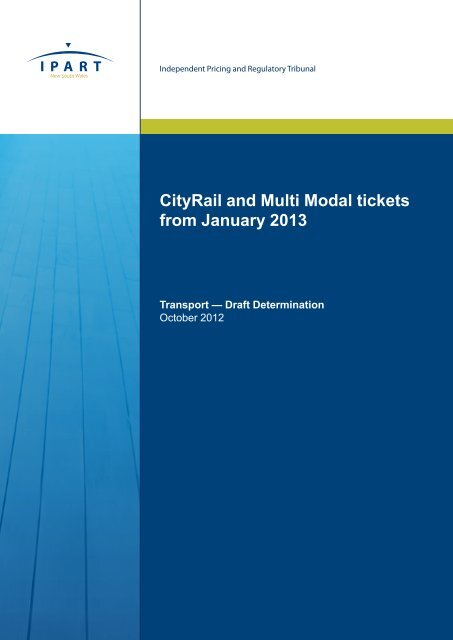 City Rail and Multi Modal tickets from January 2013 - IPART - NSW ...