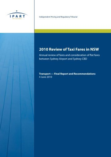 2010 Review of Taxi Fares in NSW - CiteSeerX