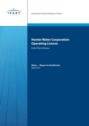 Hunter Water Corporation Operating Licence - IPART - NSW ...