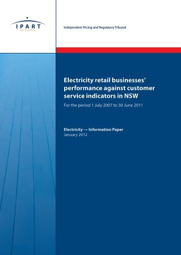 Electricity retail businesses' performance against customer service ...