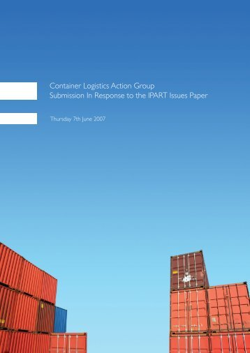Container Logistics Action Group - IPART - NSW Government