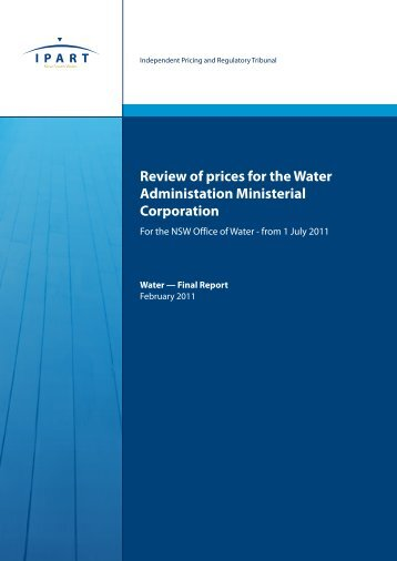 Review of prices for the Water Administration Ministerial Corporation