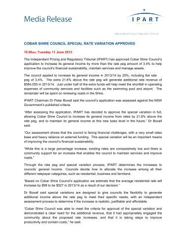 Media Release - Cobar Shire Council special rate variation ... - IPART
