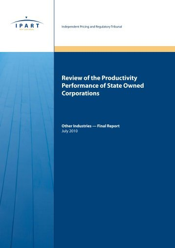 Review of the Productivity Performance of State Owned Corporations