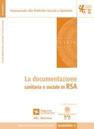 La documentazione sanitaria e sociale in RSA - Provincia di Mantova