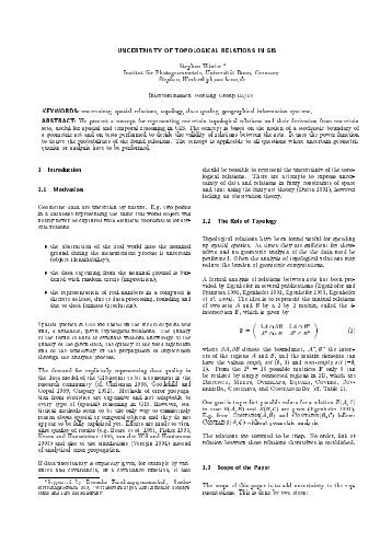 UNCERTAINT OF TOPOLOGICAL RELATIONS IN GIS Stephan ...