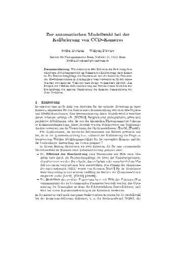 Zur automatischen Modellwahl bei der Kalibrierung von CCD ...
