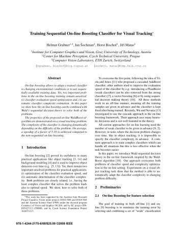 Training Sequential On-line Boosting Classifier for Visual Tracking