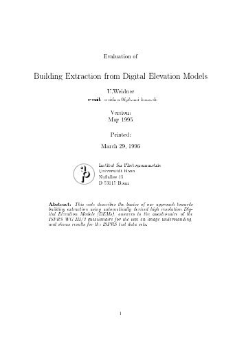 Evaluation of Building Extraction from Digital Elevation Models U ...