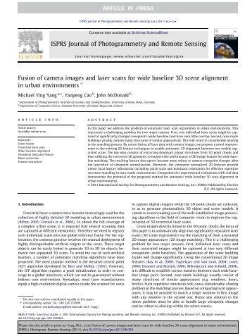 ISPRS Journal of Photogrammetry and Remote Sensing - Institut für ...