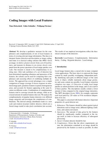 Coding Images with Local Features - Institut für Photogrammetrie