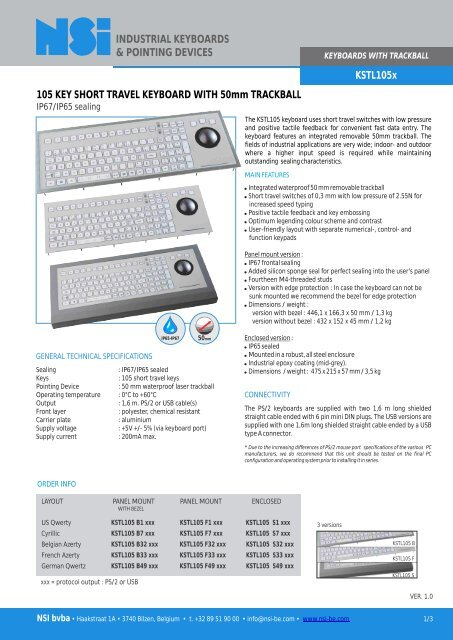 INDUSTRIAL KEYBOARDS & POINTING     - Ipc-systemes com