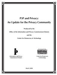 P3P - Information and Privacy Commissioner of Ontario