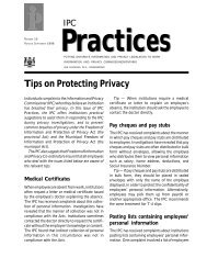 Tips on Protecting Privacy - Information and Privacy Commissioner ...