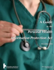 A Guide to the Personal Health Information Protection Act