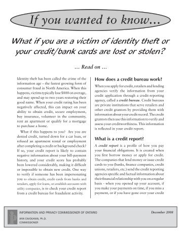 What if you are a victim of identity theft or your credit/bank cards are ...