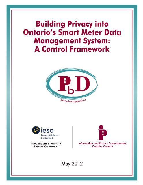 Building Privacy into Ontario's Smart Meter Data Management