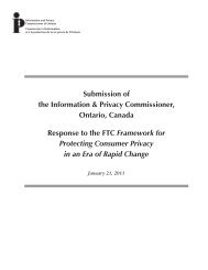 Submission - Information and Privacy Commissioner of Ontario