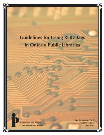Guidelines for Using RFID Tags in Ontario Public Libraries