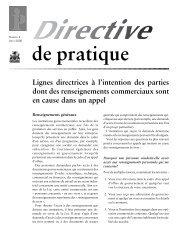Directive de pratique #4 - Lignes directrices à l'intention des parties ...