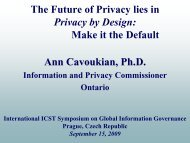 The Future of Privacy lies in Privacy by - Information and Privacy ...