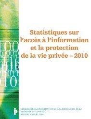 Statistiques sur l'accès à l'information et la protection de la vie privée