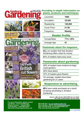 Reader Profile Passionate about gardening ... - IPC   Advertising