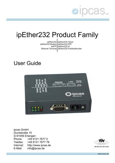 Userguide for ipEther232 the Serial-(RS232)/Ethernet ... - ipcas