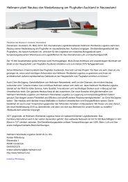 Hellmann plant Neubau der Niederlassung am Flughafen Auckland in Neuseeland