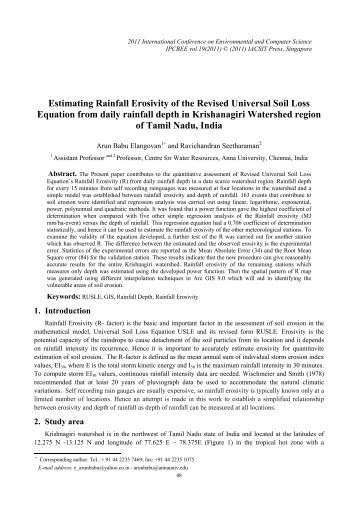 Estimating Rainfall Erosivity of the Revised Universal Soil ... - ipcbee