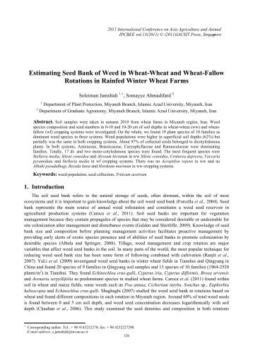 Estimating Seed Bank of Weed in Wheat-Wheat and Wheat ... - ipcbee