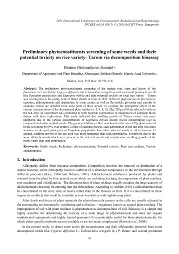 Preliminary phytoconstituents screening of some weeds ... - ipcbee