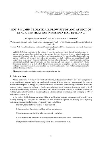 hot & humid climate air flow study and affect of stack ... - ipcbee