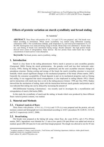 Effects of protein variation on starch cystallinity and bread ... - ipcbee