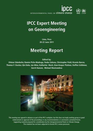 IPCC Expert Meeting on Geoengineering