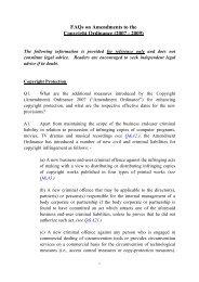 FAQs on Amendments to the Copyright Ordinance (2007 - 2009)