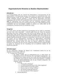 Organisatorische Hinweise zu Studien-/Diplomarbeiten