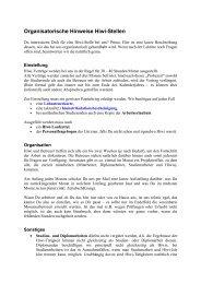 Organisatorische Hinweise Hiwi-Stellen