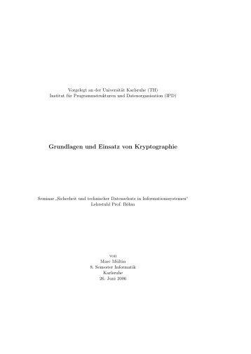 Grundlagen und Einsatz von Kryptographie