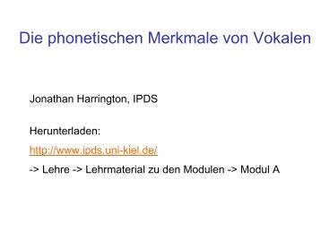 Arbeitsblatt 2: Transkription Vokale und Konsonanten - IPdS in Kiel