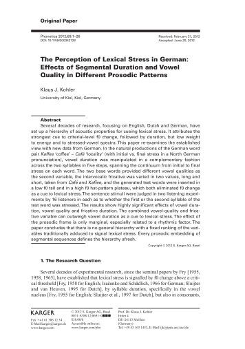 The Perception of Lexical Stress in German: Effects of ... - IPdS in