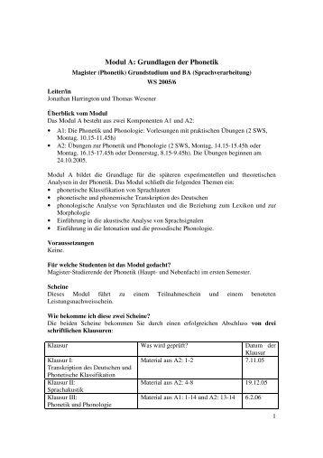 Modul A: Grundlagen der Phonetik - IPdS in Kiel