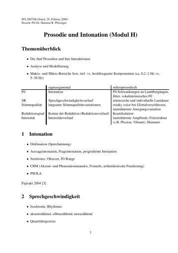 Prosodie und Intonation (Modul H) - IPdS in Kiel