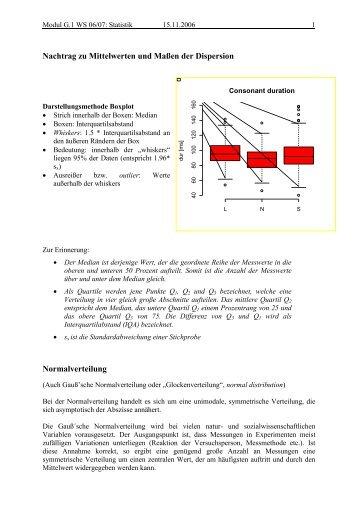 Nachtrag zu Mittelwerten und Maßen der Dispersion ... - IPdS in Kiel