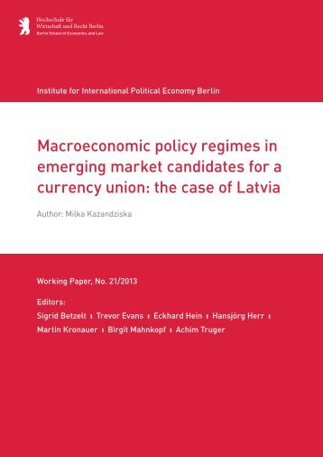 Macroeconomic policy regimes in emerging market ... - IPE Berlin