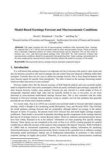 Model-Based Earnings Forecast and Macroeconomic ... - ipedr