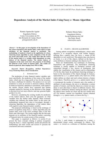 Dependence Analysis of the Market Index Using Fuzzy c ... - ipedr